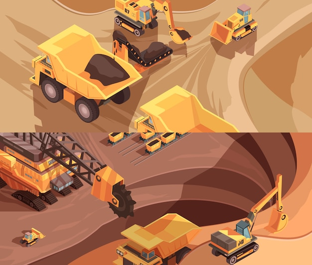 Two horizontal mining banners with extractive equipment