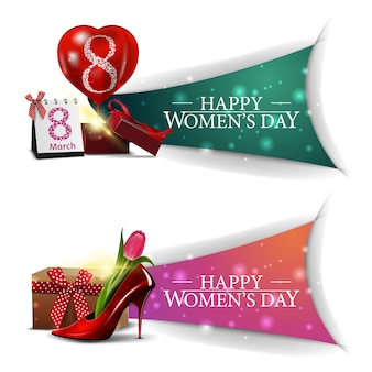 Two horizontal, modern, greeting women's day banners