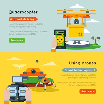 Two horizontal new technologies banner set with quadrocopter smart delivery using drones smart technologies and buttons read more