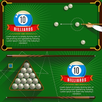 Two horizontal play billiards realistic compositions with red ribbons and 3d pool game