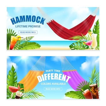 Two horizontal realistic hammock tropical banner set with lifetime promise and party time different colors available descriptions vector illustration