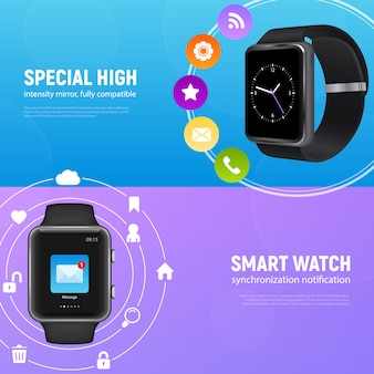Two horizontal realistic smart watch banner set with special high and smart watch descriptions vector illustration