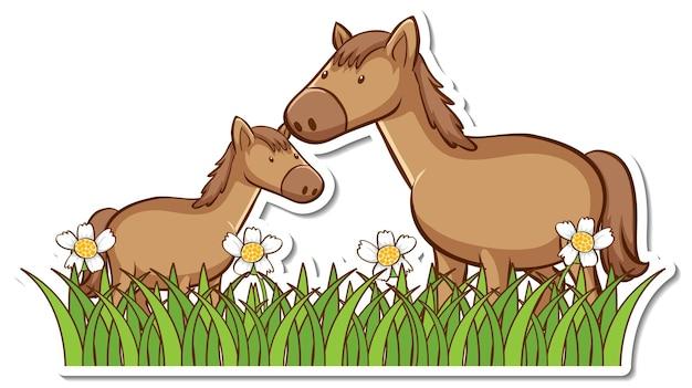 花のステッカーがたくさんある芝生のフィールドに2頭の馬