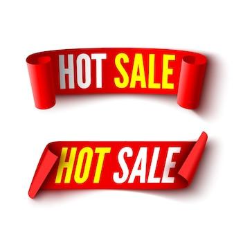 Два баннера горячих продаж. красные ленточки.