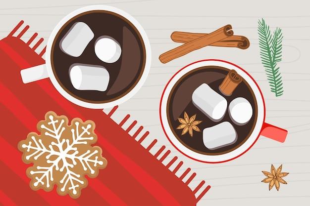 装飾が施されたクラフト紙で包まれた箱を保持している2つの人間の手クリスマスプレゼントの手