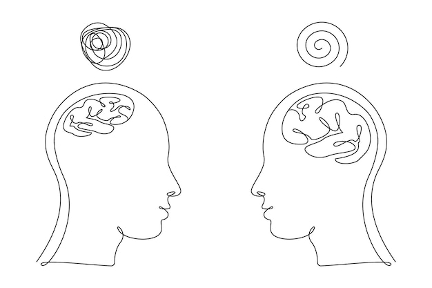Two human heads with big and small brains and confused thoughts in one line art style. continuous drawing illustration. abstract linear vector for medicine flyer, banner, brochure, poster