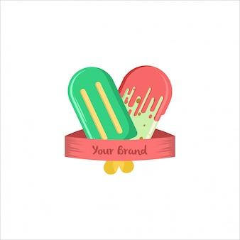 2つのアイスクリームポップコーンのロゴ緑と赤のフラットカラー
