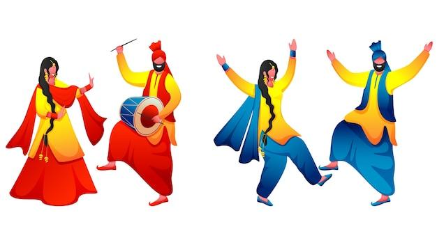 ドール楽器でバングラダンスを踊るパンジャブカップルの2つの画像