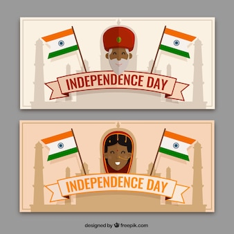 Two india independence day banners