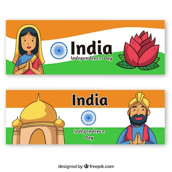 Two indian independence day banners