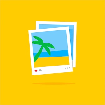 Two instant photo cards with a sea landscape and a palm tree