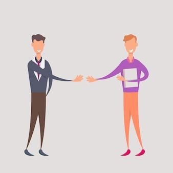 Два международных бизнесмена, пожимая руки.