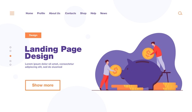 Two investors putting coins in piggybank landing page template