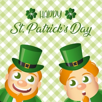 Two irish leprechauns smiling, st patricks day greeting card