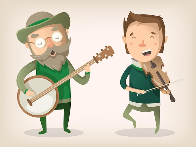 Two irish pub musicians play music instruments banjo and violin and dance