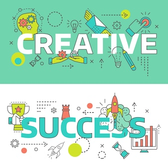 Two isolated colored creative line set on creative and success themes vector illustration