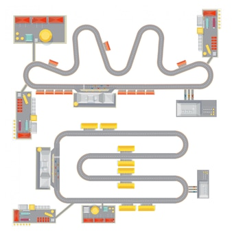 Two isolated complete race track pattern images with top view of course garage buildings and tribune