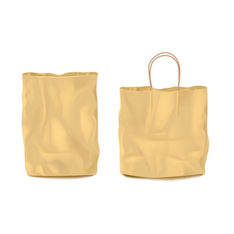 Two isolated empty paper bags set