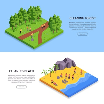 Two isometric garbage horizontal banner set with cleaning forest and cleaning beach headlines