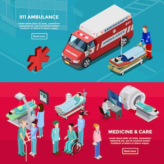 Two isometric hospital horizontal banners