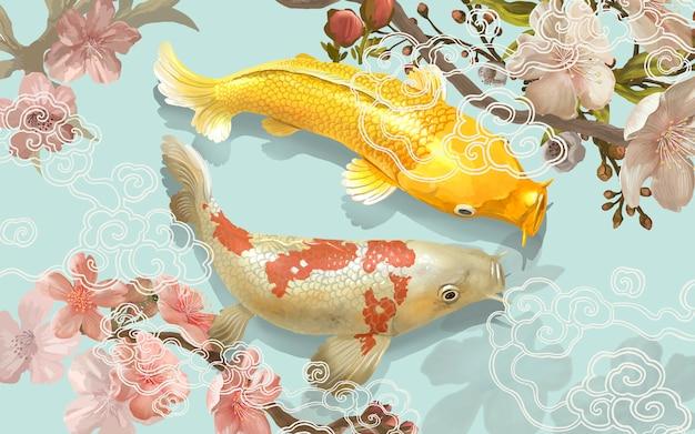Two japanese koi fish swimming