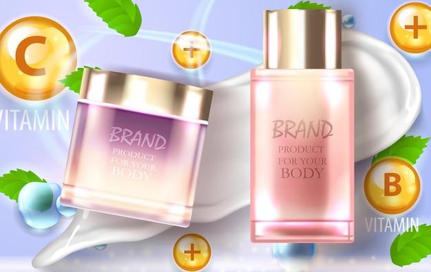 Две баночки косметического продукта возможно крем витаминный комплекс