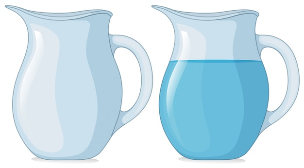 Two jars with and without water