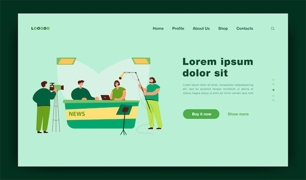 Two journalists sitting at desk on tv studio landing page template