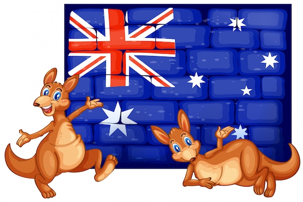 Two kangaroo and flag of australia