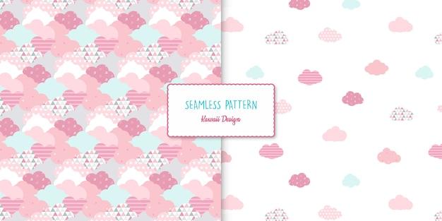 Two kawaii seamless patterns set