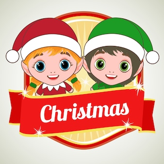 Two kid christmas costume character badge