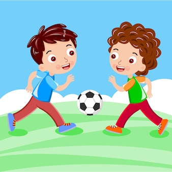 Two kid plays ball football vector