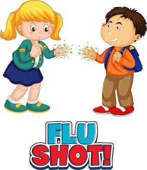 2人の子供の漫画のキャラクターは、白で隔離されたインフルエンザの予防接種フォントで社会的な距離を保ちません