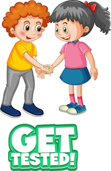 2人の子供の漫画のキャラクターは、白い背景で隔離されたテスト済みフォントを取得して社会的な距離を保ちません