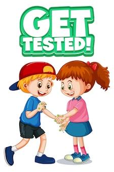 두 명의 어린이 만화 캐릭터는 흰색 배경에 격리된 테스트 글꼴을 사용하여 사회적 거리를 유지하지 않습니다.
