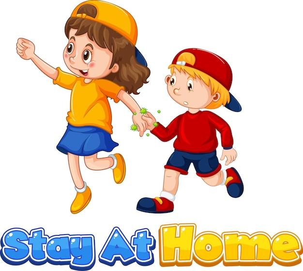 Двое детей мультипликационного персонажа не сохраняют социальную дистанцию с шрифтом stay at home, выделенным на белом фоне