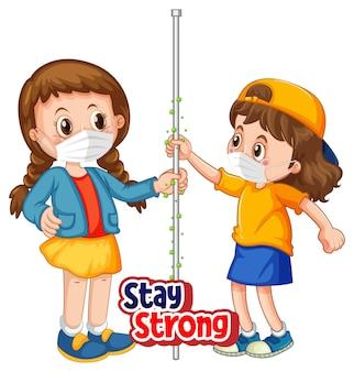 2人の子供の漫画のキャラクターは、白い背景で隔離の強いフォントを維持して社会的な距離を保ちません