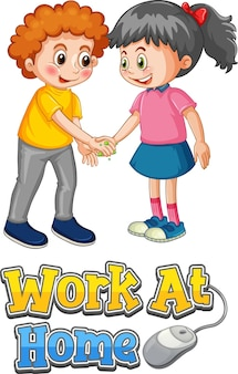 2人の子供の漫画のキャラクターは、白い背景で隔離の在宅勤務フォントで社会的な距離を保ちません