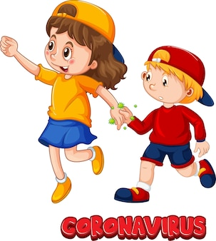 Two kids cartoon character do not keep social distance with coronavirus font isolated on white