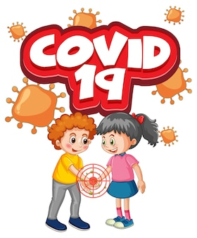 Two kids cartoon character do not keep social distance with covid-19 font isolated on white background
