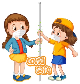 Two kids cartoon character do not keep social distance with covid safe font isolated on white background