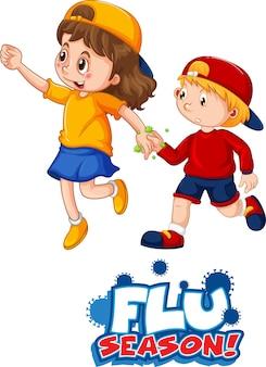 Il personaggio dei cartoni animati di due bambini non mantiene la distanza sociale con il carattere della stagione influenzale isolato su sfondo bianco