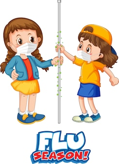 Two kids cartoon character do not keep social distance with flu season font isolated on white background