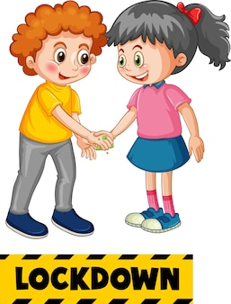 Two kids cartoon character do not keep social distance with lockdown font isolated on white background