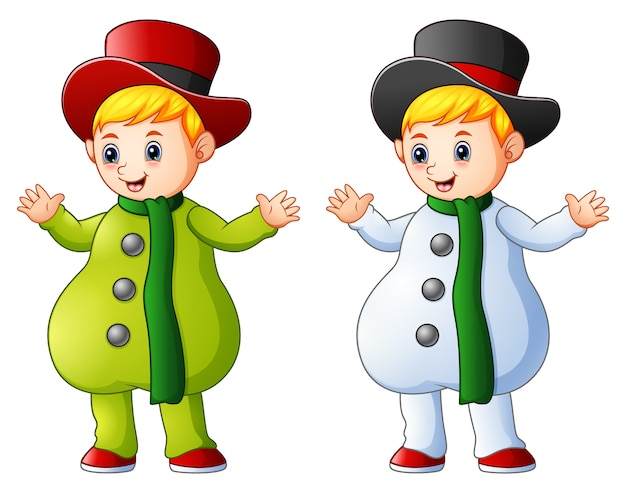 Two kids in christmas colored snowman costume