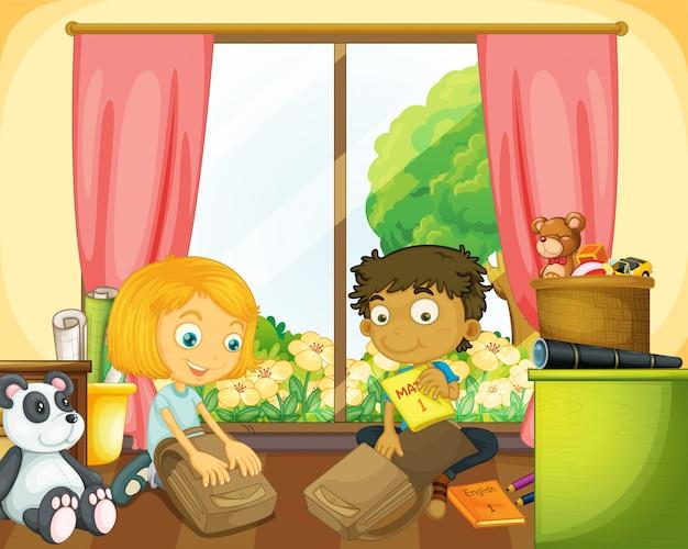 Двое детей упаковывают школьный портфель в дом
