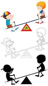 Two kids palying seesaw with its outline and silhouette