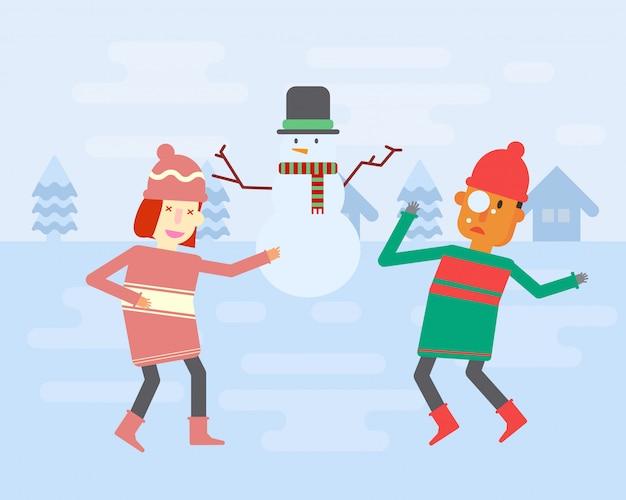 Двое детей играют в снежки в зимнюю погоду Premium векторы