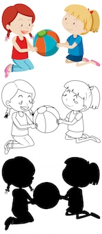 Two kids playing ball in color and in outline and silhouette
