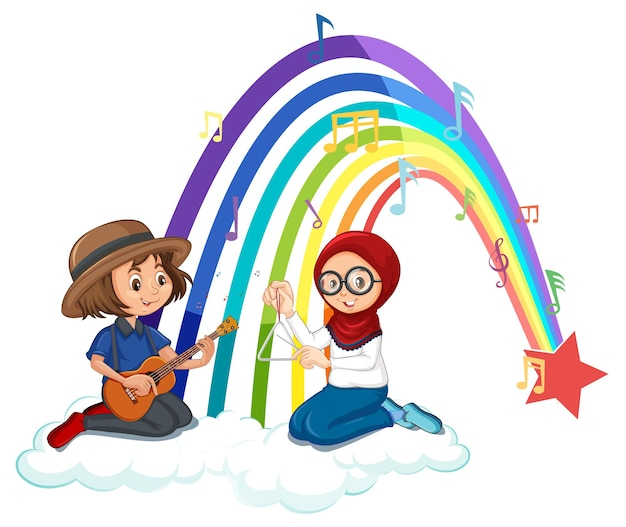 Two kids playing guitar and maracas with rainbow